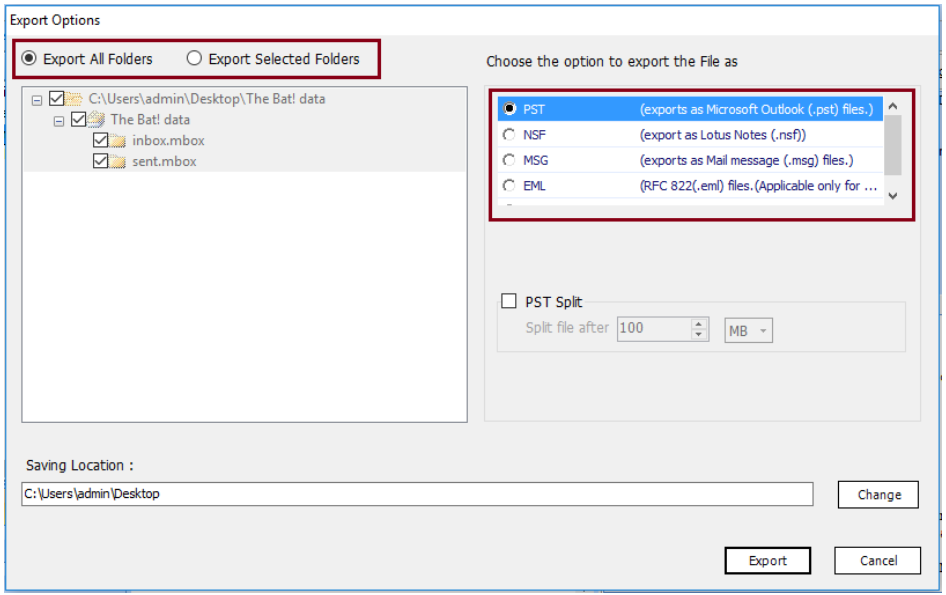 select pst format