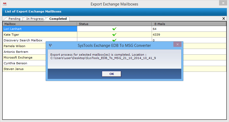 export process complete