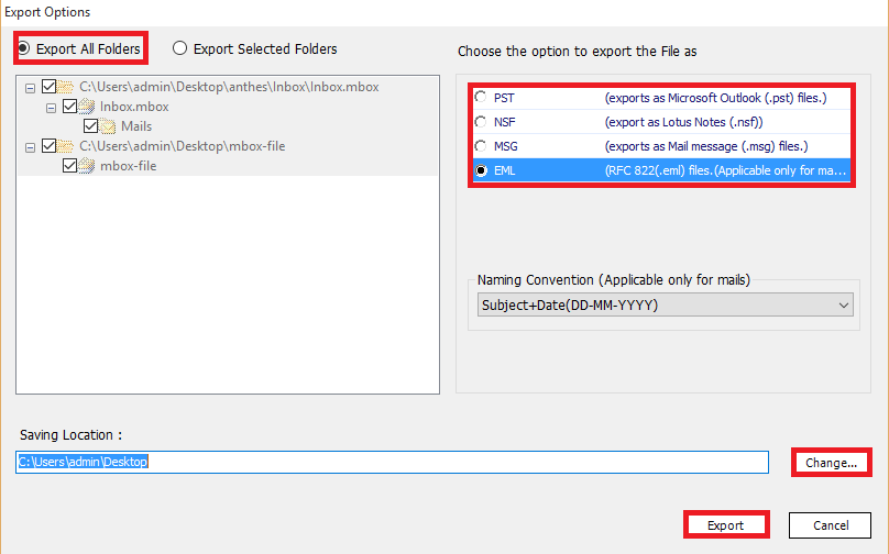 export mbox files to eml