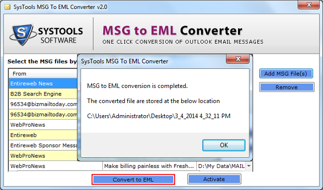 view converted msg file location