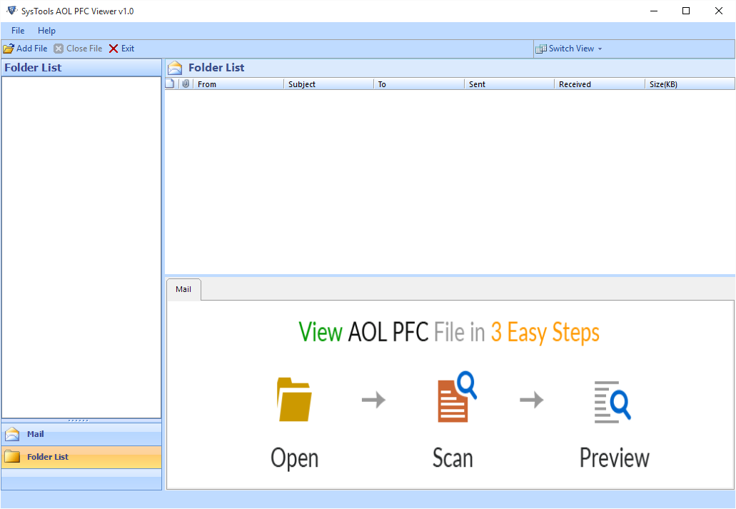 first screen of pfc file viewer