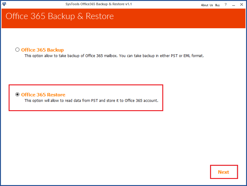 select office365 restore option